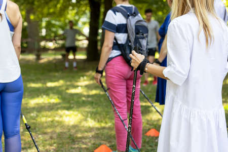 Nordic or pole walking exercise activity in the nature 免版税图像