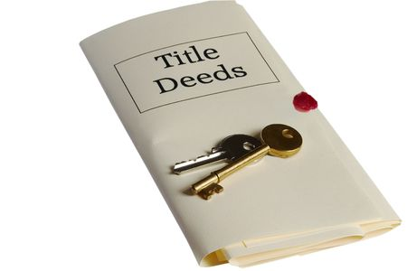 title: Title Deeds and keys Stock Photo