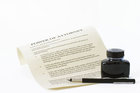 enabling: Power of attorney document on a white background. Document created by photographer. Stock Photo
