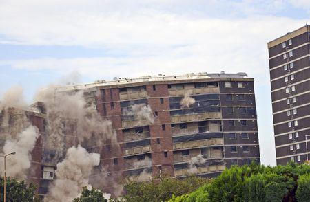eyesore: Demolition of 1960s building in Sighthill, Edinburgh.
