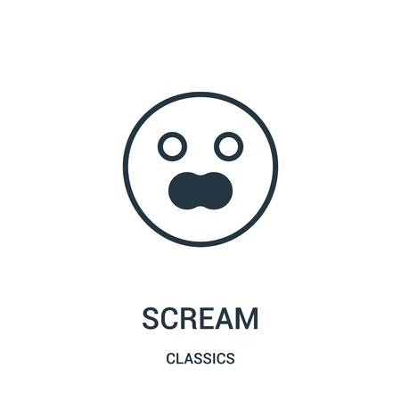 icona di grido isolato su priorità bassa bianca dalla raccolta dei classici.