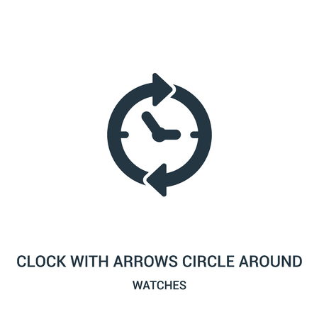 clock with arrows circle around icon isolated on white background from watches collection.
