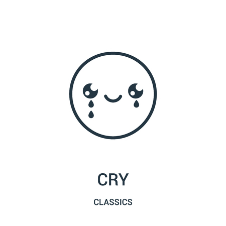 cry icon isolated on white background from classics collection.