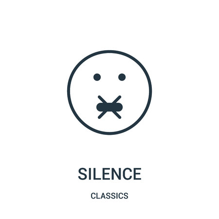 silence icon isolated on white background from classics collection. Ilustração Vetorial
