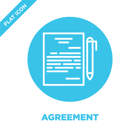 agreement icon vector. Thin line agreement outline icon vector illustration.agreement symbol for use on web and mobile apps, print media.