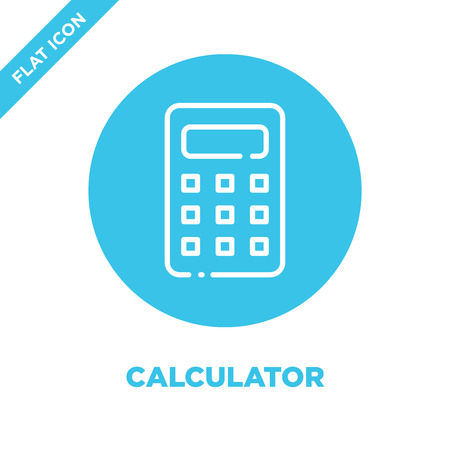 calculator icon vector. Thin line calculator outline icon vector illustration.calculator symbol for use on web and mobile apps, print media. Ilustração