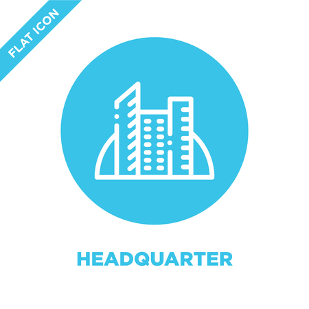 headquarter icon vector. Thin line headquarter outline icon vector illustration.headquarter symbol for use on web and mobile apps, print media.