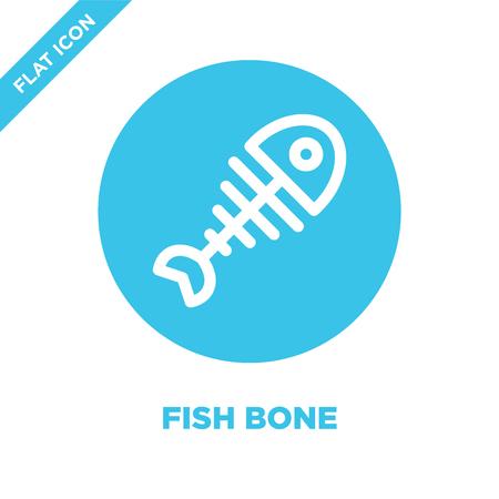 fish bone icon vector. Thin line fish bone outline icon vector illustration.fish bone symbol for use on web and mobile apps, print media. Illustration