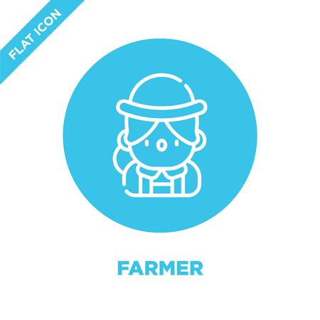 farmer icon vector. Thin line farmer outline icon vector illustration.farmer symbol for use on web and mobile apps, print media. Illustration