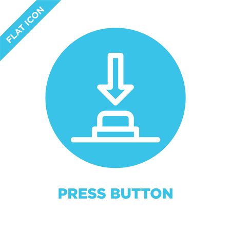 press button icon vector. Thin line press button outline icon vector illustration.press button symbol for use on web and mobile apps, print media.