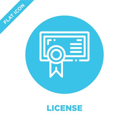 Lizenzsymbol Vektor. Dünne Linie Lizenzumrisssymbol Vektor Illustration.Lizenzsymbol für die Verwendung in Web- und mobilen Apps, Printmedien.