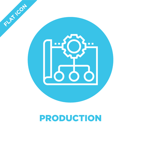 production icon vector. Thin line production outline icon vector illustration.production symbol for use on web and mobile apps, print media.