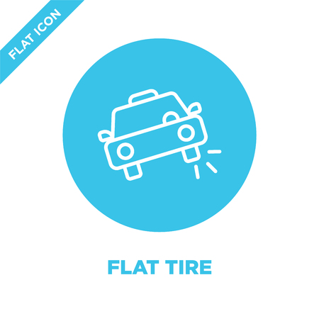 flat tire icon vector. Thin line flat tire outline icon vector illustration.flat tire symbol for use on web and mobile apps, print media. Stock Illustratie