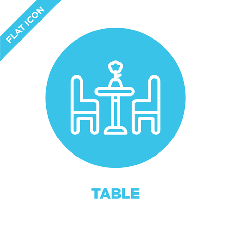 table icon vector from furnitures collection. Thin line table outline icon vector  illustration. Linear symbol for use on web and mobile apps, logo, print media. Illustration