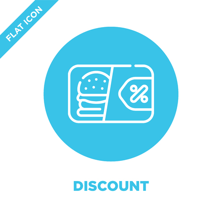discount icon vector from take away collection. Thin line discount outline icon vector  illustration. Linear symbol for use on web and mobile apps, logo, print media.
