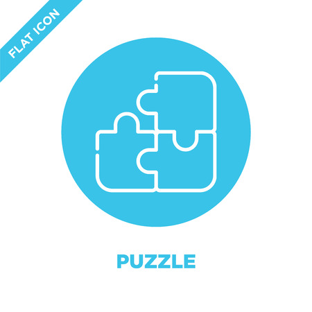 puzzle icon vector from baby toys collection. Thin line puzzle outline icon vector  illustration. Linear symbol for use on web and mobile apps, logo, print media.