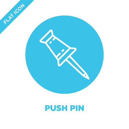 push pin icon vector from stationery collection. Thin line push pin outline icon vector  illustration. Linear symbol for use on web and mobile apps, logo, print media.
