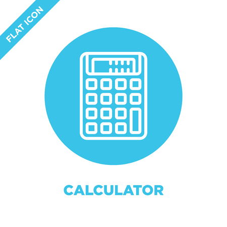 calculator icon vector from stationery collection. Thin line calculator outline icon vector  illustration. Linear symbol for use on web and mobile apps, logo, print media.