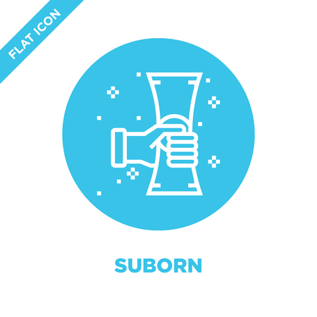 suborn icon vector from corruption elements collection. Thin line suborn outline icon vector  illustration. Linear symbol for use on web and mobile apps, logo, print media. Illustration