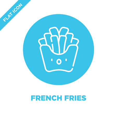 french fries icon vector from take away collection. Thin line french fries outline icon vector  illustration. Linear symbol for use on web and mobile apps, logo, print media.