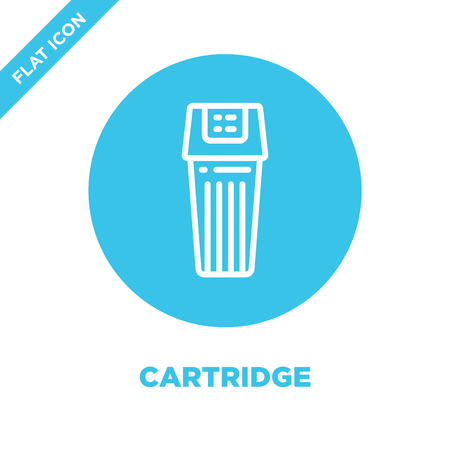 cartridge icon vector from stationery collection. Thin line cartridge outline icon vector  illustration. Linear symbol for use on web and mobile apps, logo, print media. Illustration