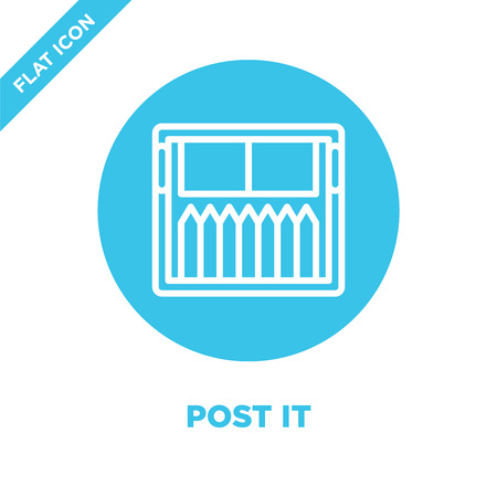 post it icon vector from stationery collection. Thin line post it outline icon vector  illustration. Linear symbol for use on web and mobile apps, logo, print media.