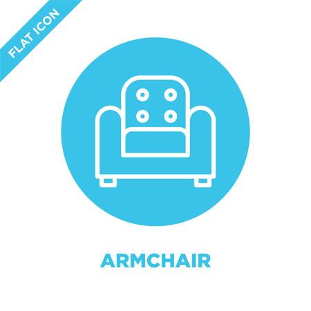 armchair icon vector from furnitures collection. Thin line armchair outline icon vector  illustration. Linear symbol for use on web and mobile apps, logo, print media.