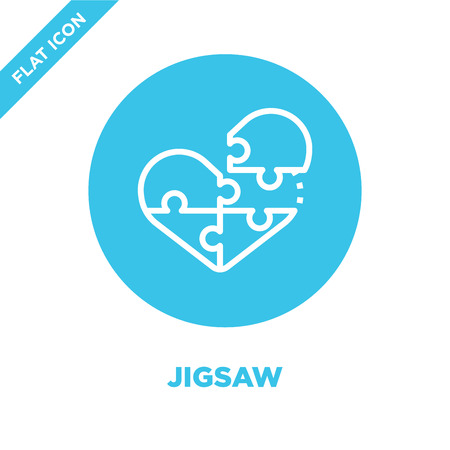 jigsaw icon vector from love collection. Thin line jigsaw outline icon vector  illustration. Linear symbol for use on web and mobile apps, logo, print media. Stock Vector - 123240347