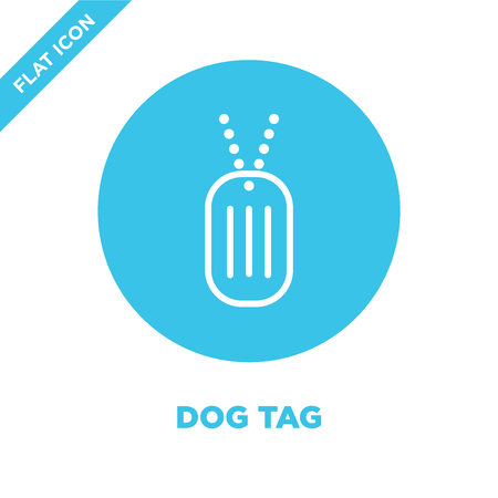 dog tag icon vector from military collection. Thin line dog tag outline icon vector  illustration. Linear symbol for use on web and mobile apps, logo, print media. Vettoriali