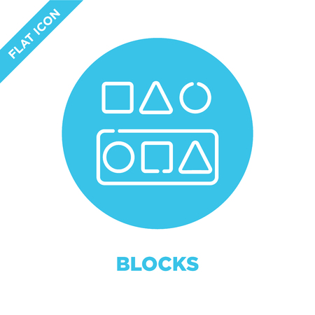 blocks icon vector from baby toys collection. Thin line blocks outline icon vector  illustration. Linear symbol for use on web and mobile apps, logo, print media. Vectores