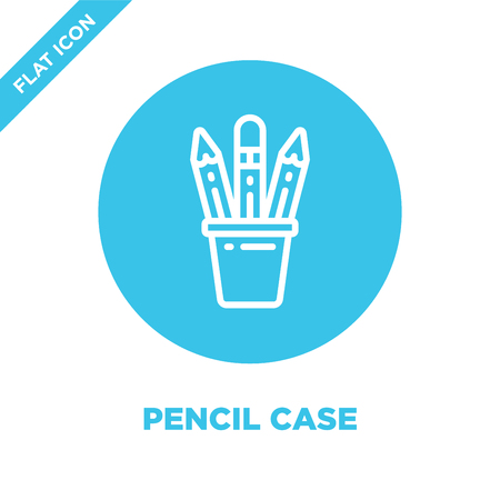 pencil case icon vector from stationery collection. Thin line pencil case outline icon vector  illustration. Linear symbol for use on web and mobile apps, logo, print media. Illustration