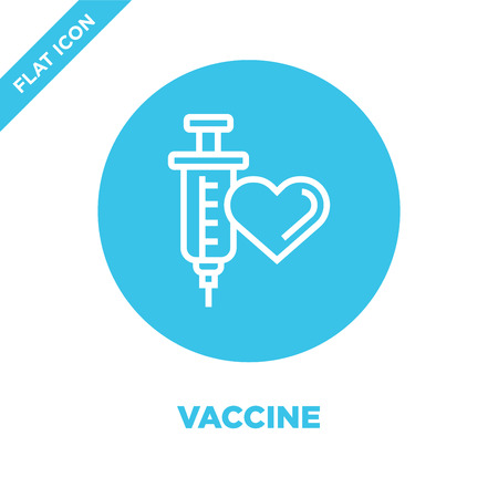 vaccine icon vector from charity elements collection. Thin line vaccine outline icon vector  illustration. Linear symbol for use on web and mobile apps, logo, print media.