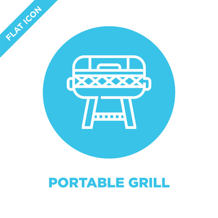 portable grill icon vector from bbq and grill collection. Thin line portable grill outline icon vector illustration. Linear symbol for use on web and mobile apps, logo, print media.