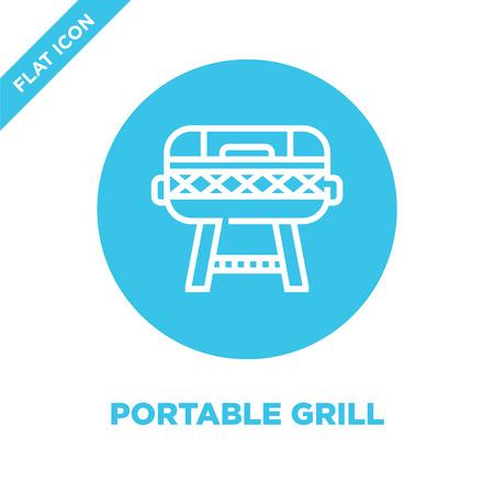 vettore icona griglia portatile dalla collezione barbecue e grill. Illustrazione di vettore dell'icona del profilo della griglia portatile di linea sottile. Simbolo lineare da utilizzare su app web e mobili, logo, supporti di stampa.