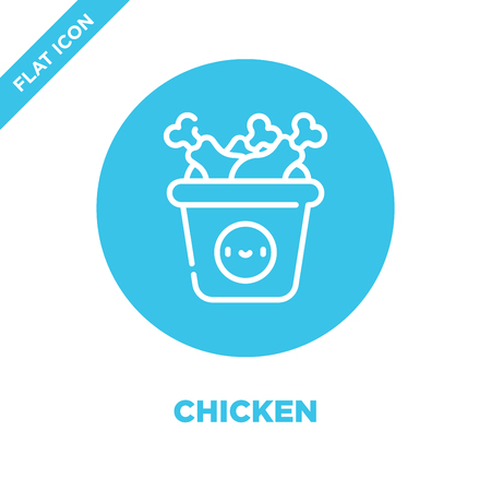 chicken icon vector from take away collection. Thin line chicken outline icon vector  illustration. Linear symbol for use on web and mobile apps, logo, print media.