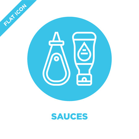 sauces icon vector from bbq and grill collection. Thin line sauces outline icon vector  illustration. Linear symbol for use on web and mobile apps, logo, print media. Banque d'images - 123240767