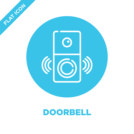 doorbell icon vector from smart home collection. Thin line doorbell outline icon vector illustration. Linear symbol for use on web and mobile apps, logo, print media.