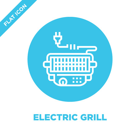vettore icona griglia elettrica dalla collezione barbecue e grill. Illustrazione di vettore dell'icona del profilo della griglia elettrica di linea sottile. Simbolo lineare da utilizzare su app web e mobili, logo, supporti di stampa.