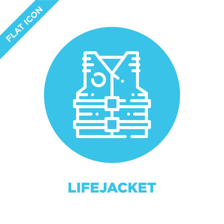 lifejacket icon vector from camping collection. Thin line lifejacket outline icon vector  illustration. Linear symbol for use on web and mobile apps, logo, print media.