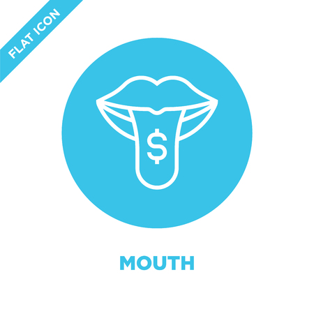 mouth icon vector from corruption elements collection. Thin line mouth outline icon vector  illustration. Linear symbol for use on web and mobile apps, logo, print media.