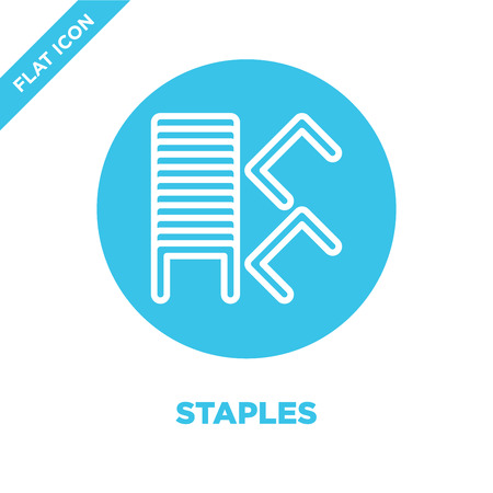 staples icon vector from stationery collection. Thin line staples outline icon vector  illustration. Linear symbol for use on web and mobile apps, logo, print media.