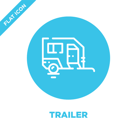 trailer icon vector from camping collection. Thin line trailer outline icon vector  illustration. Linear symbol for use on web and mobile apps, logo, print media. Banco de Imagens - 123241912
