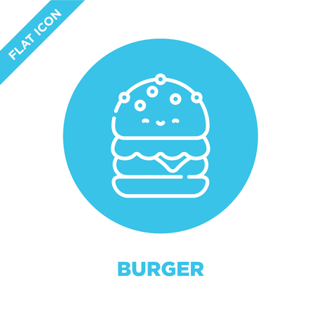burger icon vector from take away collection. Thin line burger outline icon vector  illustration. Linear symbol for use on web and mobile apps, logo, print media.