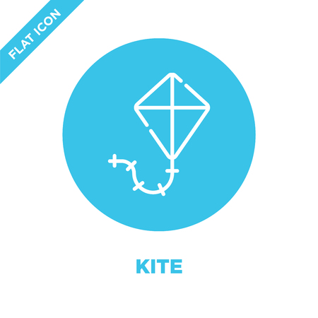 kite icon vector from baby toys collection. Thin line kite outline icon vector  illustration. Linear symbol for use on web and mobile apps, logo, print media. Banco de Imagens - 123241939
