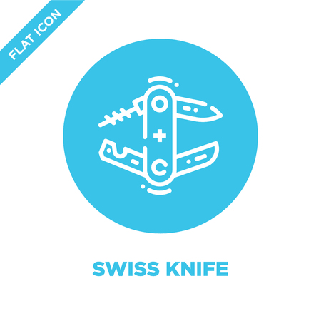 swiss knife icon vector from camping collection. Thin line swiss knife outline icon vector  illustration. Linear symbol for use on web and mobile apps, logo, print media.
