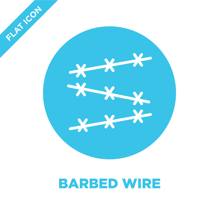 barbed wire icon vector from military collection. Thin line barbed wire outline icon vector illustration. Linear symbol for use on web and mobile apps, logo, print media. Logos