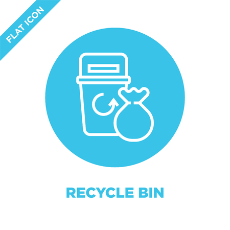 recycle bin icon vector from global warming collection. Thin line recycle bin outline icon vector  illustration. Linear symbol for use on web and mobile apps, logo, print media. Banque d'images - 123241947