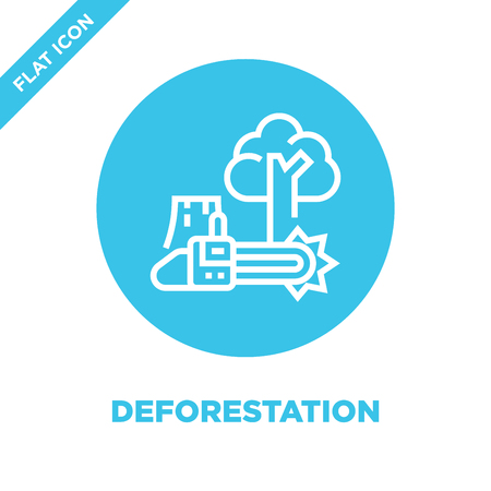 deforestation icon vector from global warming collection. Thin line deforestation outline icon vector  illustration. Linear symbol for use on web and mobile apps, logo, print media.