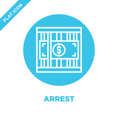 arrest icon vector from corruption elements collection. Thin line arrest outline icon vector  illustration. Linear symbol for use on web and mobile apps, logo, print media. Standard-Bild - 123241986