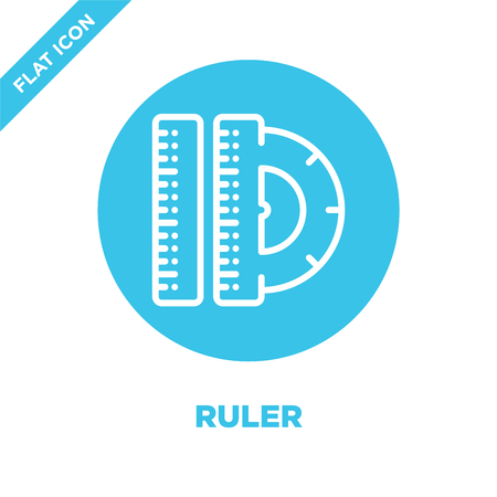ruler icon vector from stationery collection. Thin line ruler outline icon vector  illustration. Linear symbol for use on web and mobile apps, logo, print media. Иллюстрация